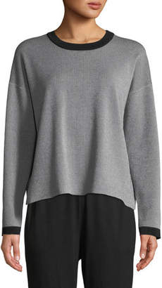 Eileen Fisher Long-Sleeve Vertical Striped Sweater