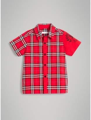 Burberry Short-sleeve Archive Logo Detail Check Cotton Shirt