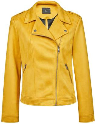 Dorothy Perkins Womens Yellow Suedette Biker Jacket