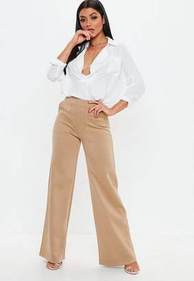 Missguided Camel Contrast Stitch Wide Leg Trousers