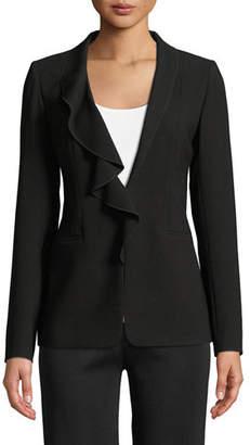 Elie Tahari Siyah Ruffle-Collar Jacket