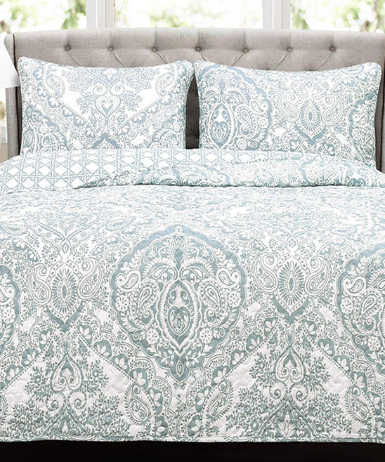 Blue Nova Reversible Cotton Quilt Set