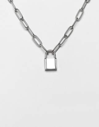 Asos Design DESIGN necklace with hardware chain and padlock in silver