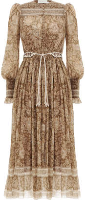 Zimmermann Veneto Shirred Paisley Dress