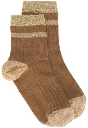 Twin-Set ribbed lurex stripe socks