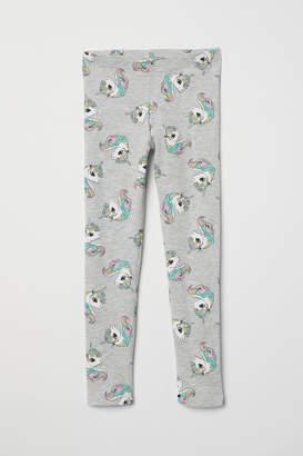 H&M Patterned Jersey Leggings - Gray
