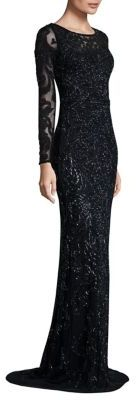 Theia Long Sleeve Embellished Gown $1,395 thestylecure.com