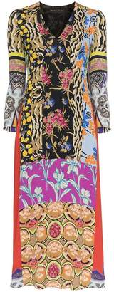 Etro patchwork print midi dress