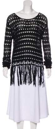 Alexander Wang Fringe-Accented Long Sleeve Sweater