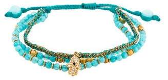 Tai Dyed Quartzite Beaded Hamsa Bracelet