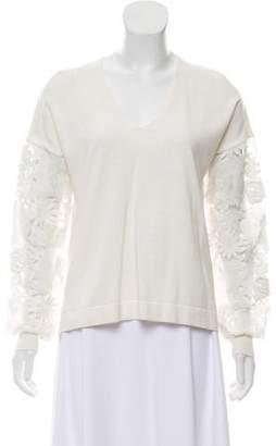 French Connection Floral-Appliqué Knit Top