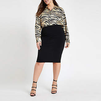 River Island Plus black ponte pencil skirt