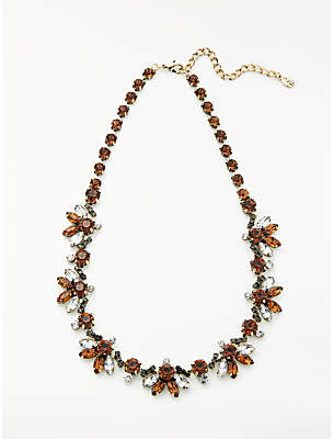 John Lewis & Partners Crystal Statement Necklace, Bronze