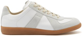 Maison Margiela Replica Suede Panel Leather Trainers - Mens - White