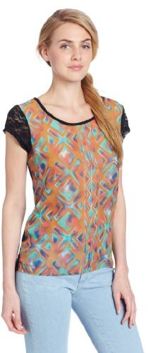 Wrangler Women's Scoop Neck Fashion Knit Shirts With Aztec Design