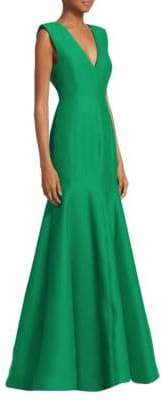 Halston V-Neck Fitted Structure Mermaid Gown