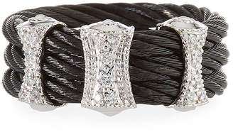Alor Steel Cable & 18k Diamond 3-Station Ring Size 7 Black