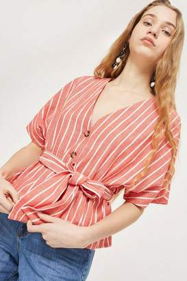 Topshop Striped Short Sleeve Kimono Top