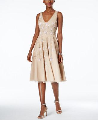 Adrianna Papell Embellished Tea-Length Dress $279 thestylecure.com