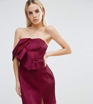 Asos NIGHT One Shoulder Ruffle Metallic Mini Dress