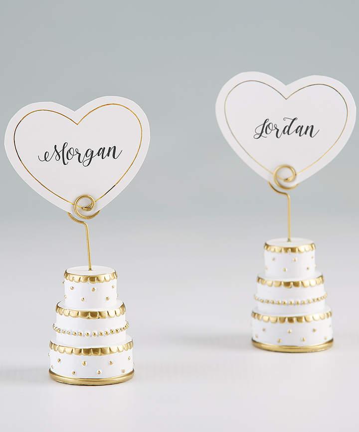 Gold Wedding Cake Place Card Holder - Set of Six