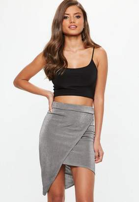 Missguided Gray Metallic Slinky Wrap Front Asymmetric Midi Skirt