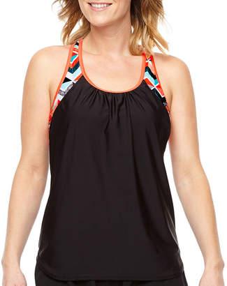 ZeroXposur Geometric Blouson Swimsuit Top