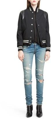 Women's Saint Laurent 'Teddy' Black Leather Trim Bomber Jacket $2,550 thestylecure.com