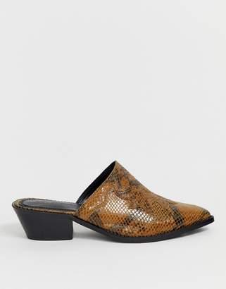 Asos Design DESIGN Monaco premium leather western mule in snake
