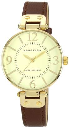 Anne Klein Goldtone Round Dial and Brown Leather Strap Watch