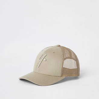 River Island Mens Year Dot Beige baseball cap