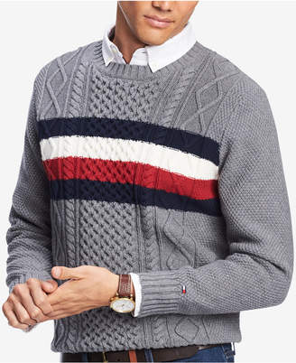 Tommy Hilfiger Men's Striped Chest Cable Knit Sweater, Created for Macy's