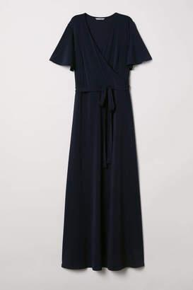 H&M Long V-neck Dress - Dark blue - Women
