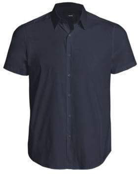 Theory Sylvain S. Wealth Slim-Fit Short Sleeve Shirt