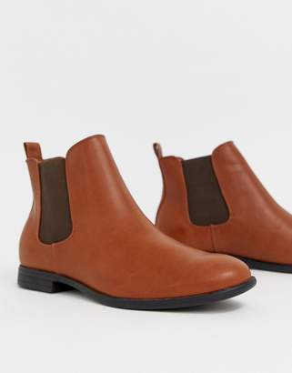 Jack and Jones chelsea boots in tan