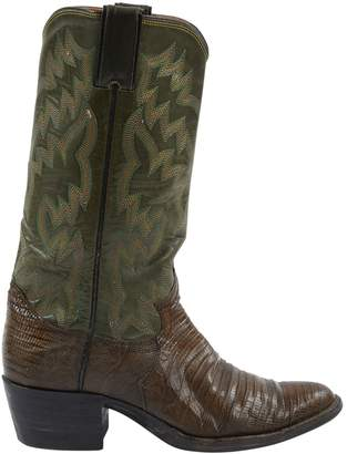 Justin Khaki Leather Boots