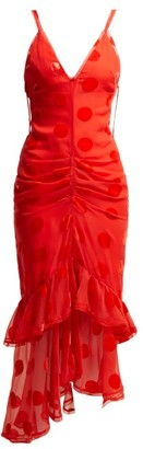 Maria Lucia Hohan Skylar Ruffled Polka Dot Tulle Mid Dress - Womens - Red
