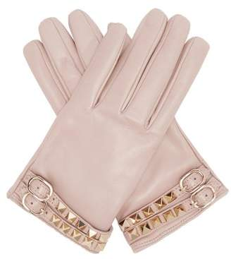 Valentino Rockstud Leather Gloves - Womens - Grey