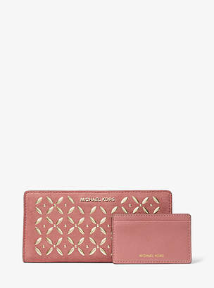 Michael Kors Large Embellished Suede Slim Wallet