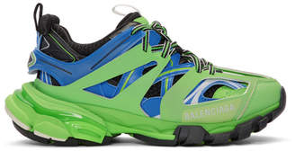 Balenciaga Green and Blue Track Runner Sneakers