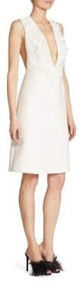 Prada Embroidered Cady Plunging V-Neck Sheath Dress