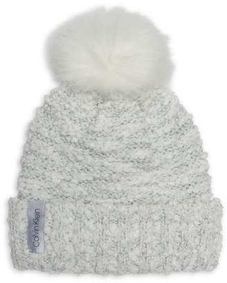 Calvin Klein Faux Fur-Trim Boucle Beanie