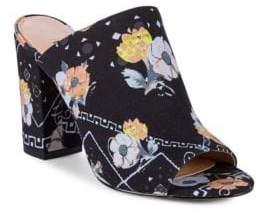AVEC LES FILLES Margaux Floral Block Heel Mules