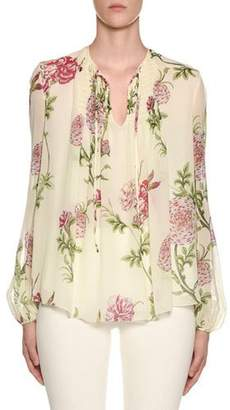 Giambattista Valli Long-Sleeve Tie-Neck Floral Chiffon Peasant Blouse