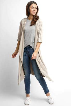 Abbeline Suede Drape Duster With Roll Sleeves