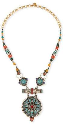 Devon Leigh Antiqued Turquoise, Coral & Lapis Pendant Necklace