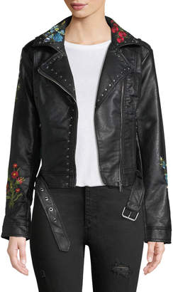C&C California Floral-Embroidered Moto-Style Jacket