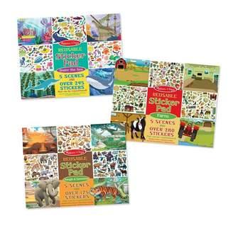 Melissa & Doug Reusable Sticker Pads 3-Pack Jungle, Farm, Under the Sea