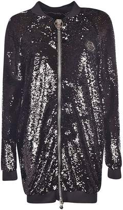Philipp Plein Sequin-coated Long Jacket
