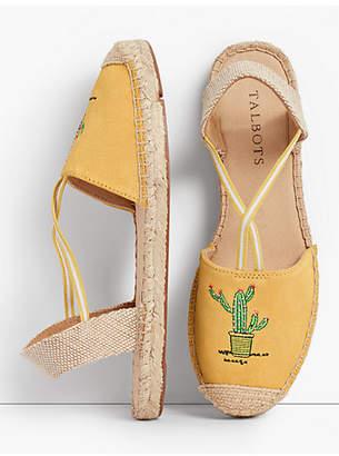 Talbots Ivy Cactus-Embroidered Silk Suede Espadrilles